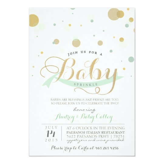Modern Mint Baby Sprinkle Baby Shower Invitation