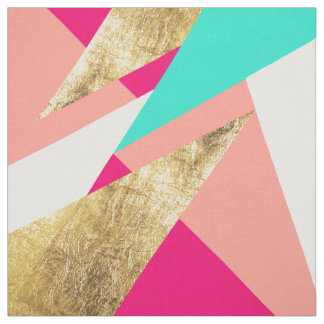 Modern mint coral gold triangles color block fabric