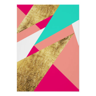Modern mint coral gold triangles color block poster