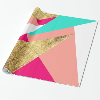 Modern mint coral gold triangles color block wrapping paper