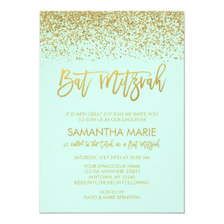 Modern Mint Faux Gold Glitter Bat Mitzvah 13 Cm X 18 Cm Invitation Card