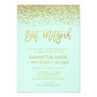 Modern Mint Faux Gold Glitter Bat Mitzvah Card