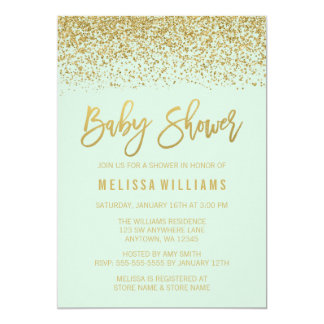 Modern Mint Gold Faux Glitter Baby Shower Card
