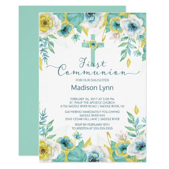 Modern Mint Gold Floral First Holy Communion Card