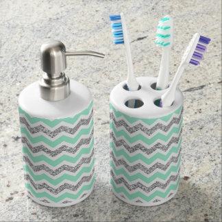 Modern Mint Gray Silver Glitter bathroom decor Toothbrush Holder