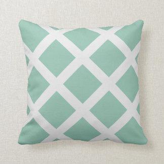 Modern Mint Green and White Criss Cross Stripes Pillows