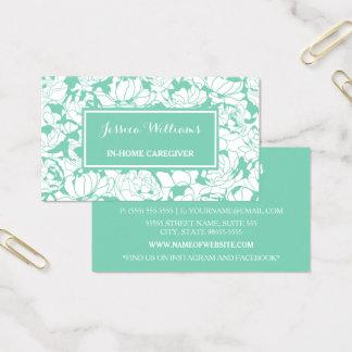 modern mint green floral girly nurse caregiver business card