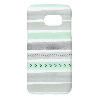 Modern Mint Green Gray Watercolor Stripes Design