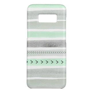Modern Mint Green Gray Watercolor Stripes Design Case-Mate Samsung Galaxy S8 Case