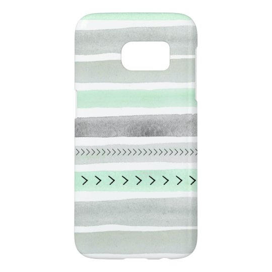 Modern Mint Green Grey Watercolor Stripes Design