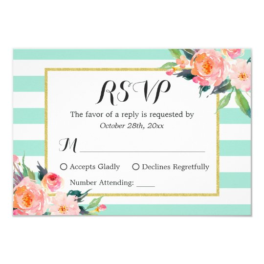 Modern Mint Green Stripes Floral RSVP Reply Card
