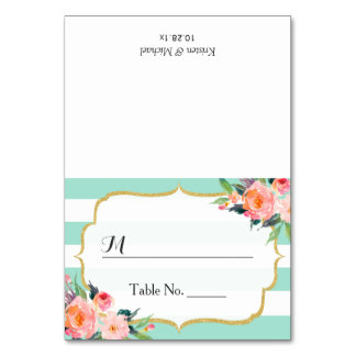 Modern Mint Green Stripes Floral Wedding Place Card