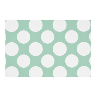 Modern Mint Green White Polka Dots Pattern Laminated Place Mat
