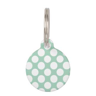 Modern Mint Green White Polka Dots Pattern Pet Tag