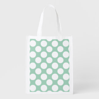 Modern Mint Green White Polka Dots Pattern Reusable Grocery Bag