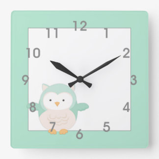 Modern Mint Owl Clock - nursery bedroom