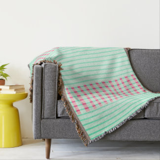 Modern_Mint_Rose_Pink-Stripes Throw Blanket
