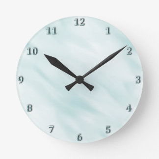 Modern Misty Blue Pastel Bath Set Round Clock