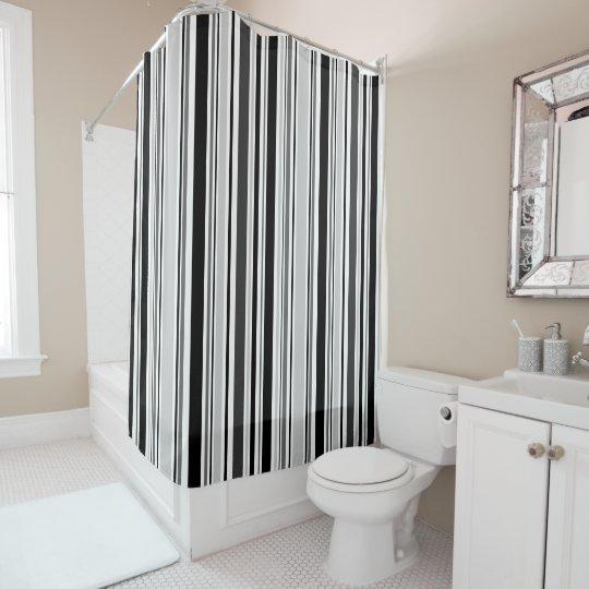Modern Mixed Grey Black White Stripes Shower Curtain