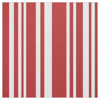 Modern Mixed Red and White Stripes Fabric