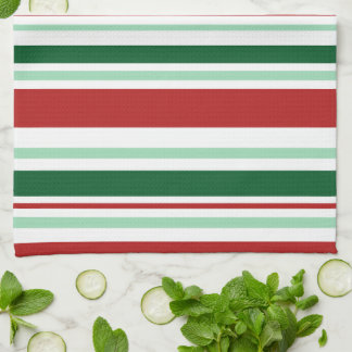 Modern Mixed Red, Green, White Stripes Hand Towels