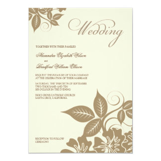Modern Mocha/Cream Floral Wedding Invitation