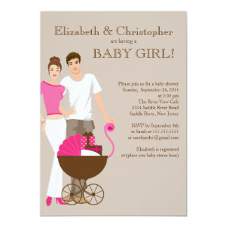 Modern Mom Dad Carriage Couple Baby Shower Card