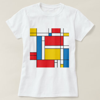 Modern Mondrian Inspired Graphic Pattern T-Shirt