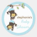 Modern Monkey Twin Boy Baby Shower in Blue Round Sticker