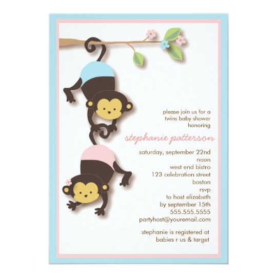 Modern Monkey Twin Girl & Boy Baby Shower