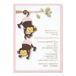 "Modern Monkey Twin Girls Baby Shower Invitation 5"" X 7"" Invitation Card"