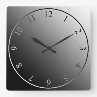 Modern monochrome black white silver square wall clock
