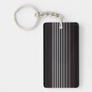 Modern Monochrome Gradient Vertical Stripes Double-Sided Rectangular Acrylic Key Ring