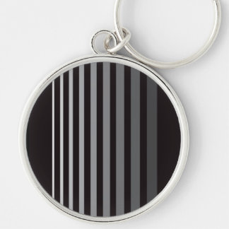 Modern Monochrome Gradient Vertical Stripes Silver-Colored Round Key Ring