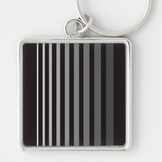 Modern Monochrome Gradient Vertical Stripes Silver-Colored Square Key Ring