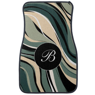 Modern Monogram Abstract Stripes Pattern Car Mat