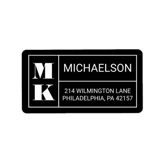 Modern Monogram Address Label