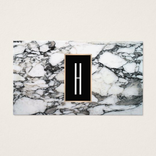Modern Monogram, Black and White Marble, Stone Business