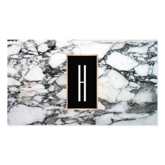 Modern Monogram, Black and White Marble Stone Pack Of Standard Business Cards