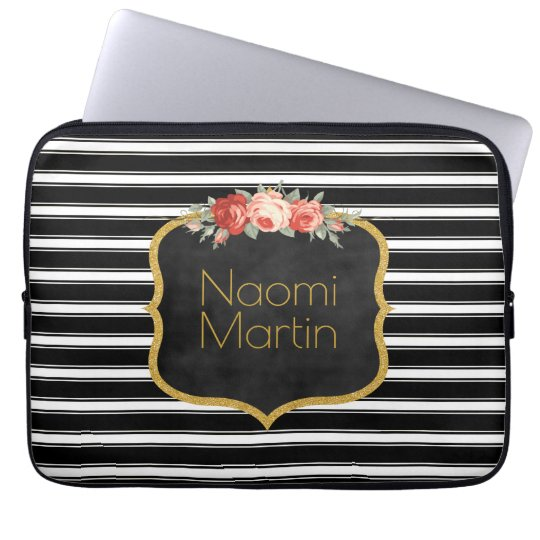Modern Monogram Black White Stripes | Roses Gold