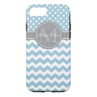 Modern Monogram Chevron Zigzag Stripes iPhone 8/7 Case