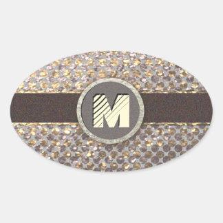 Modern Monogram Elegant Glitter Pattern Oval Sticker