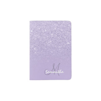 Modern monogram faux glitter ombre purple lavender passport holder