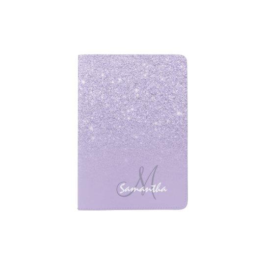 Modern monogram faux glitter ombre purple lavender passport holder