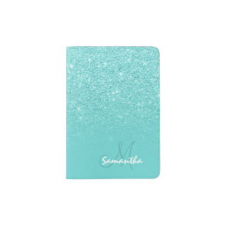 Modern monogram faux glitter ombre teal block passport holder