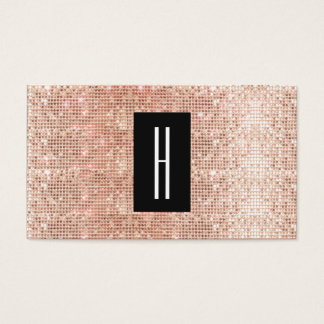 Modern Monogram, Faux Rose Gold Sequins Business Card