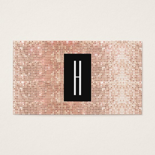 Modern Monogram, Faux Rose Gold Sequins Business Card
