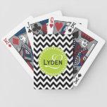 Modern monogram gift black chevron playing cards