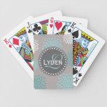 Modern monogram gift grey blue teal playing cards