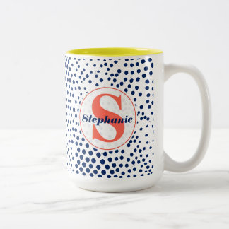 Modern Monogram Hearts and Blue Dots Patterned Two-Tone Coffee Mug